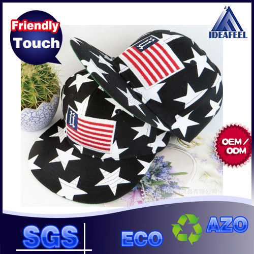 Anti - Wrinkle Black Cotton Snapback Baseball Caps 3D Logo USA Flag Strip