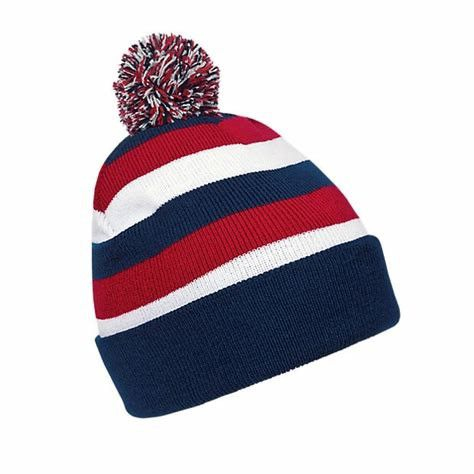 Blue / Red Retro Cuffed Cool Pom Pom Beanies , Youth Winter Beanie With Pom Pom